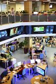 MOSCOW - MAR 5: View from the second floor to the office news agency RIA Novosti with many screens o