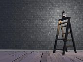 Lantern on ladder - 3D render