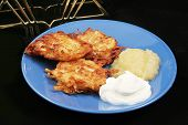 A plate of delicious potato pancakes, or