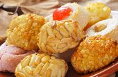 closeup of a pile of panellets, typical pastries of Catalonia, Spain, eaten in All Saints Day