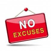 pic of apologize  - No excuses sign or icon apologies - JPG