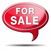 For sale banner, selling a house apartment or other real estate sign. Home to let icon.