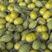 3D Render Of A Pile Of Hand Grenades