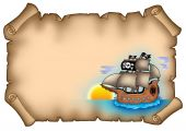 Ancient Parchment With Ship