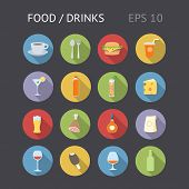 Flat Icons For Food And Drinks