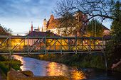 Fluxus Bridge and Bernardine Church in Vilnius, Lithuania