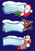Set Of Horizontal Banners With Snowdrifts And Icicles With Santa Claus, Reindeer And Sexy Girl Peeki