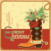Cowboy Christmas Card With Text And Boot