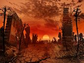 stock photo of nuclear disaster  - The illustration on the theme of the apocalypse - JPG
