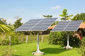 stock photo of solar battery  - Panels of the solar batteries in the garden