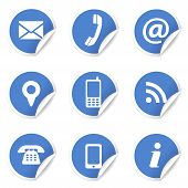 Web Contact Us Icons On Blue Labels