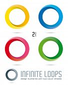Impossible Infinite Loop Vector Design Elements with two surfaces and color shades