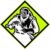 image of sandblasting  - Illustration of a sandblaster worker holding sandblasting hose wearing helmet visor set inside diamond shape done in retro style - JPG