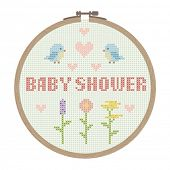 cross stitched baby shower card