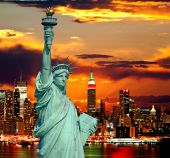 image of empire state building  - The Statue of Liberty and New York City skylines as the background - JPG