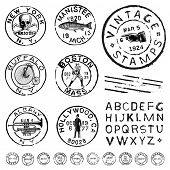 Vector vintage stamp and icons. Create your own retro stamps, labels and badges.