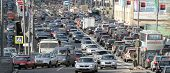 MOSCOW - APR 29: Cars stands in traffic jam on the city center, April 29, 2011, Moscow Russia. In Mo