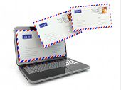 E-mail concept. Laptop and envelopes on white isolated background. 3d