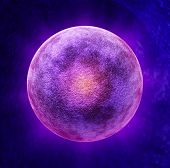 stock photo of ovulation  - Human egg cell medical symbol as a three dimensional microscopic reproductive health concept representing a single ova in the ovulation process for reproduction inside the anatomy of the fertile female body during the menstrual cycle - JPG