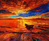 pic of acrylic painting  - Original oil painting of boat