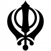 stock photo of khanda  - Black and white Khanda symbol vector illustration - JPG