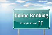 pic of ebusiness  - Highway Signpost with Online Banking related wording - JPG