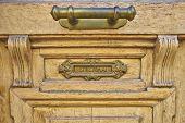 elegant door handle and postbox close-up
