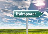 image of hydro  - Signpost Image Illustration with Hydropower related wording - JPG