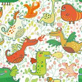Funny seamless pattern with dragons in flower garden. vector floral fantasy background. Cute monster