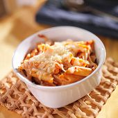 baked penne and mozzarella cheese