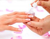 Cuticle oil. Manicure and Hands Spa. Beautiful Woman hands closeup. Manicured nails and Soft skin. Beauty hands. Beauty treatment. Beautiful woman's nails with beautiful french manicure