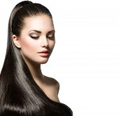 Beauty Brunette Fashion Model Girl with Long Healthy Straight Hair, Ponytail Hair. Trendy hairstyle.