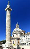 Trajan's Column and Santa Maria di Loreto church, Rome, Italy, Europe