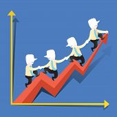 Flat Design Illustration Concept Of Cooperation Performance Growth