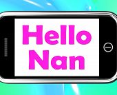 Hello Nan On Phone Shows Message And Best Wishes
