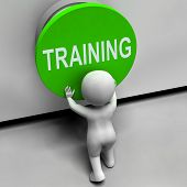Training Button Means Education Induction Or Seminar