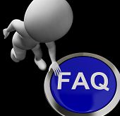 Faq Button Means Website Inquires And Information