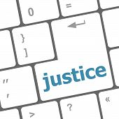 Law Concept: Justice Button On Keyboard Keys