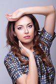 Fashion Woman Professional Make Up Posing In Studio