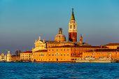View Of San Giorgio Maggiore Church Facing Grand Canal In Venice, Italy