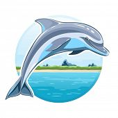 Dolphin on sea background. Eps8 vector illustration. Isolated on white background