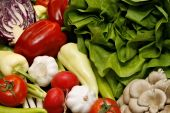 Fresh Vegetables Like Salad, Pepper, Tomato, Garlic, Radish, Onion, Red Cabbage And Mushroom