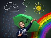 Child holding an umbrella standing in front of a chalk drawing of changing weather from rain storm t