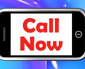 Call Now On Phone Shows Talk Or Chat