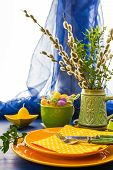 Easter Table Setting Bunch Willow Catkins