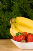 Organic Strawberries And Bananas