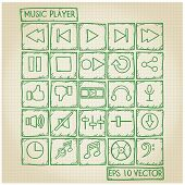 Music Player Icon Doodle Set