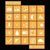Photo Editor Flat Icon Set