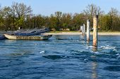 Pontoon Bridge, Bereguardo, Lomellina (italy)