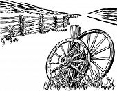 Wagon wheel and fence illustration